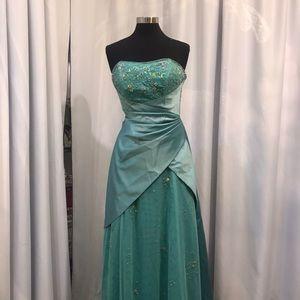 Green satin A line dress